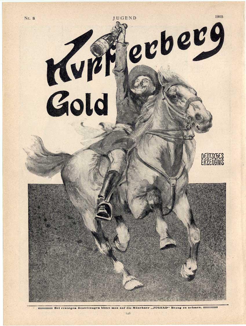 COWBOY-Sekt-Reklame-Kupferberg-Gold-aus-Jugend-1905